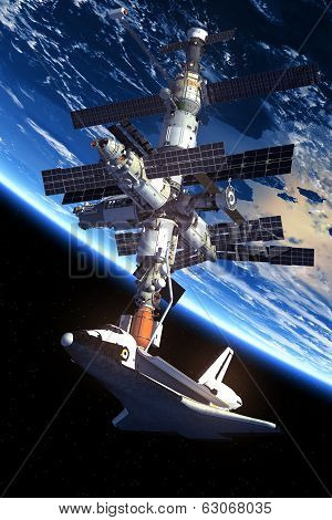 Space Shuttle And Space Station Orbiting Earth.