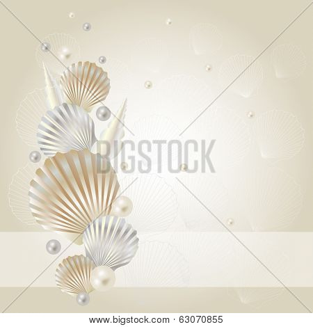Illustration of background with seashells and pearls