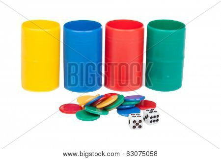 Dice and cubes for ludo game isolated on a white background