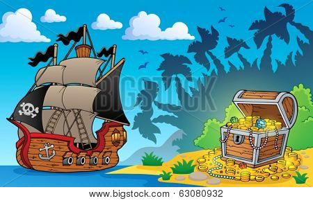 Pirate theme with treasure chest 1 - eps10 vector illustration.