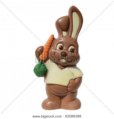 A Cute easter chocolate bunny isolated on a white background