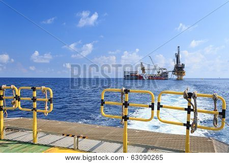 Tender Drilling Oil Rig On The Production Platform View From Crew Boat