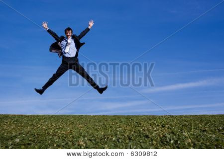 Business Guy Jumping