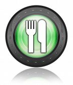 Icon Button Pictogram with Eatery Restaurant symbol poster