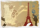 vector post card design with eiffel tower and saxophonist poster