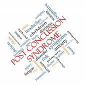 Post Concussion Syndrome Word Cloud Concept angled with great terms such as brain injury trauma and more. poster