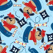 Pirate pup in his boat seamless pattern poster