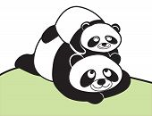 Illustration of family panda mom and child poster