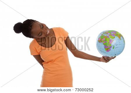 Black african american woman is holding a globe in her hands - isolated on white.