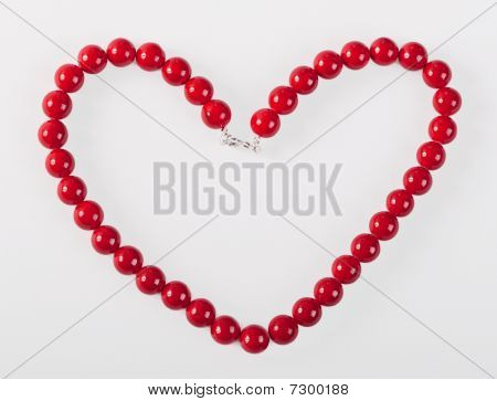 Heart From Red Mardi Gras Beads