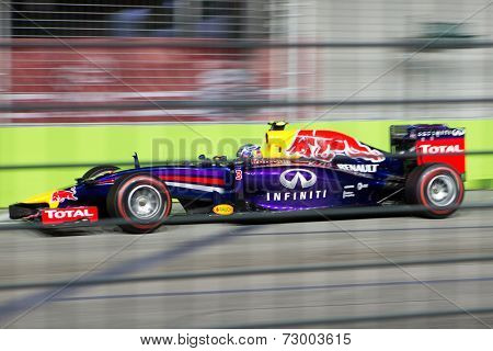 SINGAPORE - SEPTEMBER 20:  Daniel Ricciardo of the Infiniti Red Bull Renault clinching the third position in the qualifying round of the Singapore Grand Prix on SEPT 20, 2014