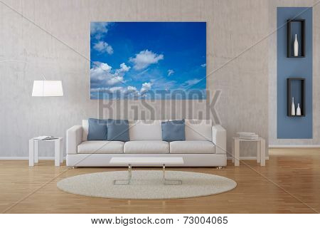 Modern interior of living room with photo of sky with clouds on canvas