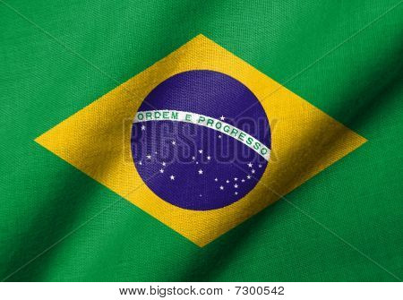 Realistic 3D flag of Brazil with fabric texture waving. poster