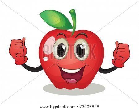 Illustration of an apple with a face