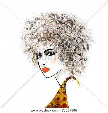 art sketched beautiful girl face with curly hair and in profile in black graphic isolated on white background
