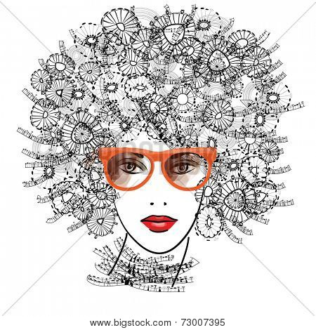 art sketched beautiful girl face with eyeglasses and curly hairs  in black graphic isolated on white background