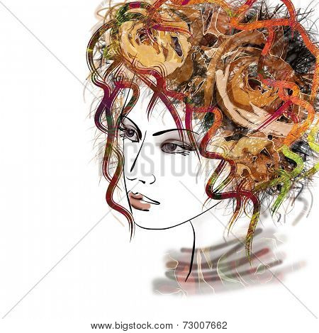 art sketched beautiful girl face with curly hairs  in colorful graphic isolated on white background