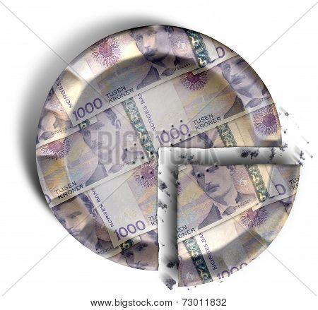 Slice Of Norwegian Kronor Money Pie