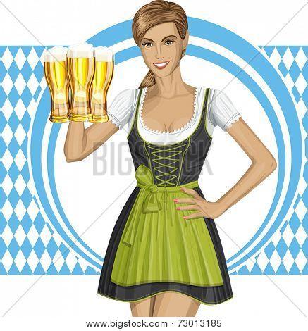 cute woman in drindl on oktoberfest with beer