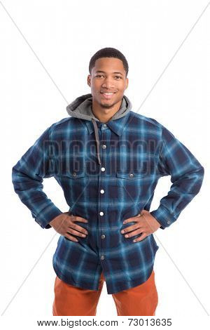 Casual Dressed Young African American Male College Student Standing on Isolated Background