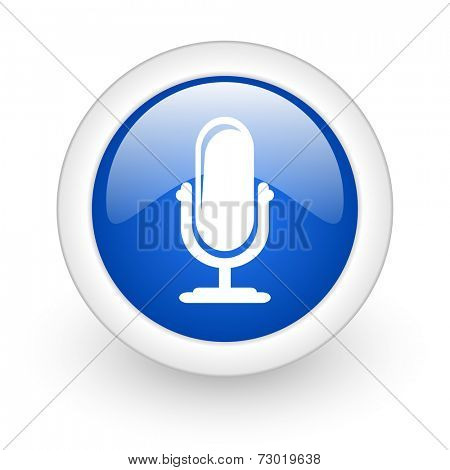 microphone blue glossy icon on white background