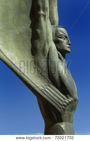 A detail of one of the two Winged Figures of the Republic on the Nevada side of the Hoover Dam.