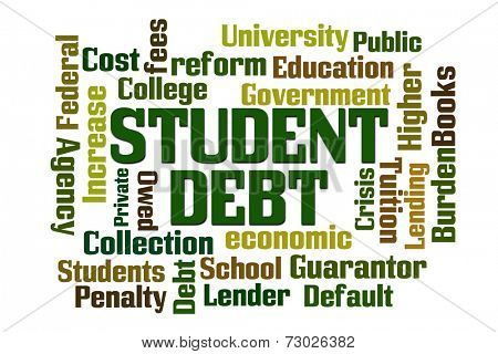 Student Debt word cloud on white background