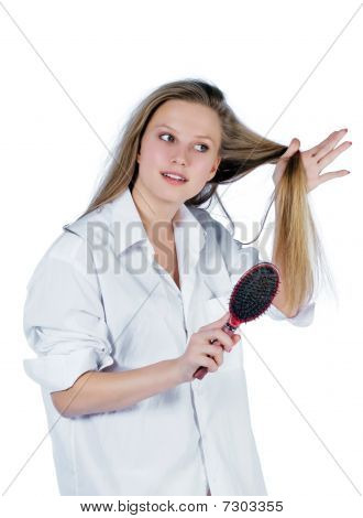 Young Woman With Comb