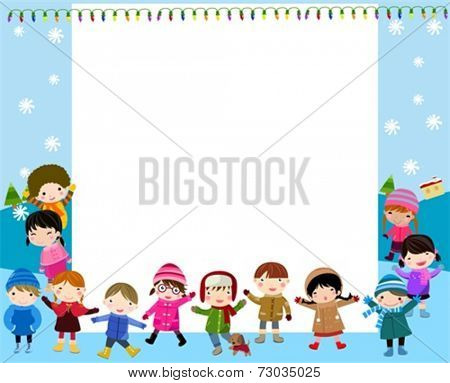 Group of children and frame