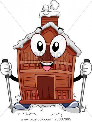 Mascot Illustration Featuring a Ski Lodge