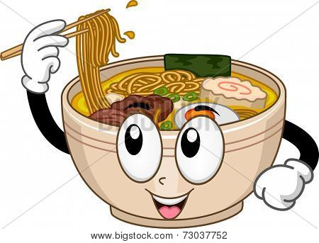 Mascot Illustration Featuring a Bowl of Ramen