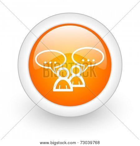 forum orange glossy web icon on white background