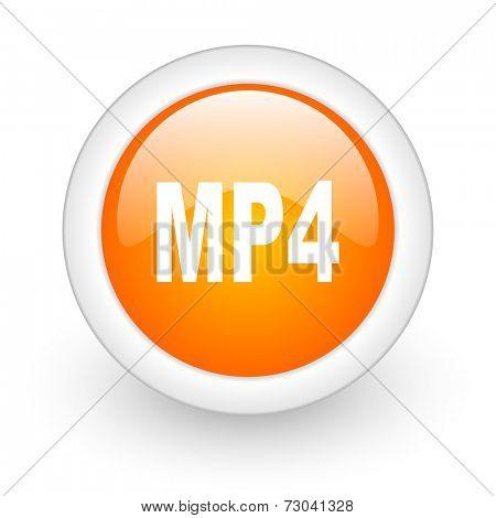 mp4 orange glossy web icon on white background