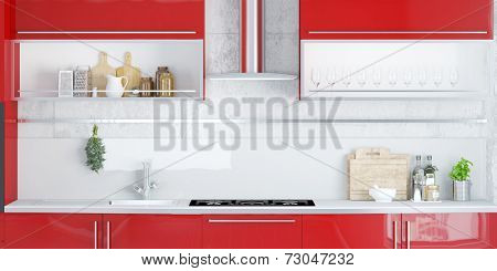 Stove and exhaust hood in a clean red kitchen