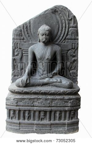 KOLKATA, INDIA - NOV 24: Buddha in Bhumisparsha mudra, from 10th century found in Bihar now exposed in the Indian Museum in Kolkata, on Nov 24, 2012