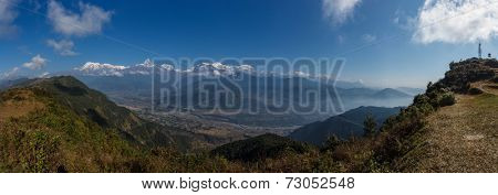 Panoramic of all annapurna range (himalaya) from sarangkot - Pokhara Nepal