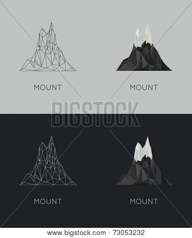 vector low-poly mount. poster and logo design. flat hipster  stile