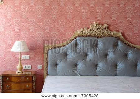 big bed with high headboard