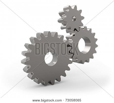 Metal gear wheels set isolated on white background.