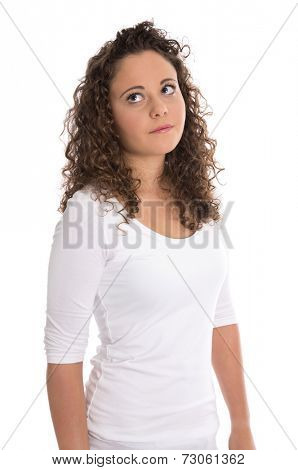 Frustrated and disappointed young woman isolated in white shirt.