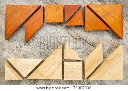 two sets of tangram puzzle on a slate rock background,  a traditional Chinese puzzle game - a competition or confrontation concept poster