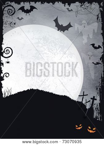 Full moon background with ghosts, bats, crosses, pumpkins and a big full moon. A creepy backdrop just perfect for any Halloween design. Vector available.