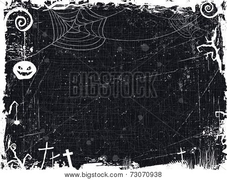 The textured background with Halloween themed frame, scary tree branches, spiderwebs ,a spooky looking pumpkin, and crosses make it the perfect backdrop for any Halloween design. Vector available.