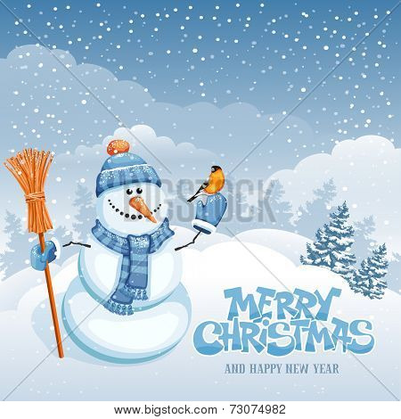Christmas greeting card with cute snowman on winter landscape