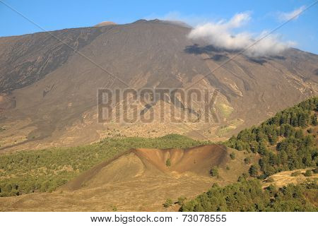 cooled lava flows and Mezza Luna mount on the south-western side of Etna, Sicily