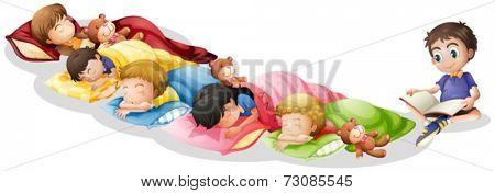 Illustration of children taking a nap