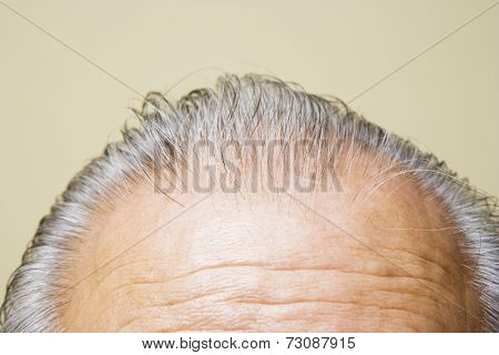 Close up of grey hair on top of elderly man's head
