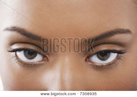 Young black woman's eyes