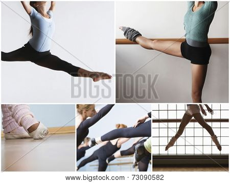 Collage of fit women practicing ballet dance poster