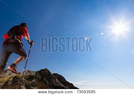 Skyrunner runs uphill along a mountain trail. Rear view, caucasian young man. Sunny summer day. West Alps, Europe.